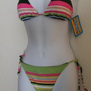 Skechers Bikini M Green Stripe Multi-Color NEW